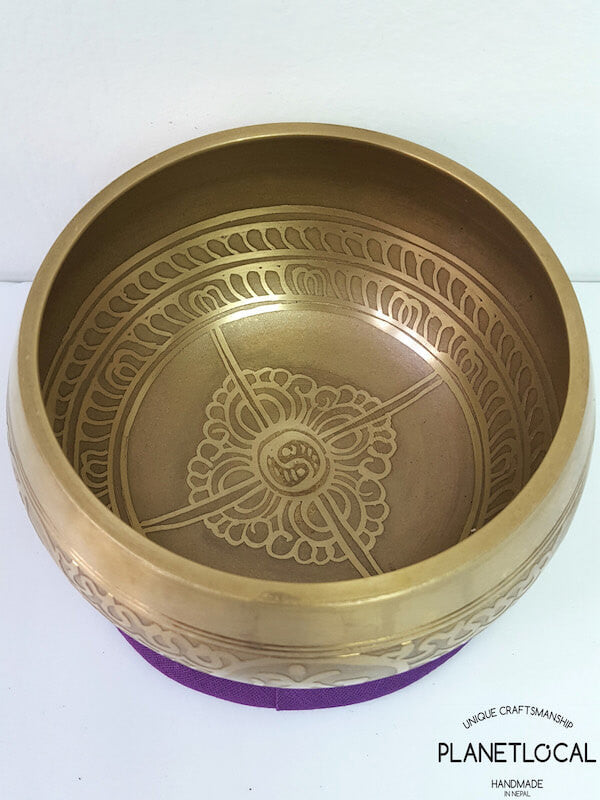 Compassion Mantra + Double Vajra Etched Singing Bowl (1)