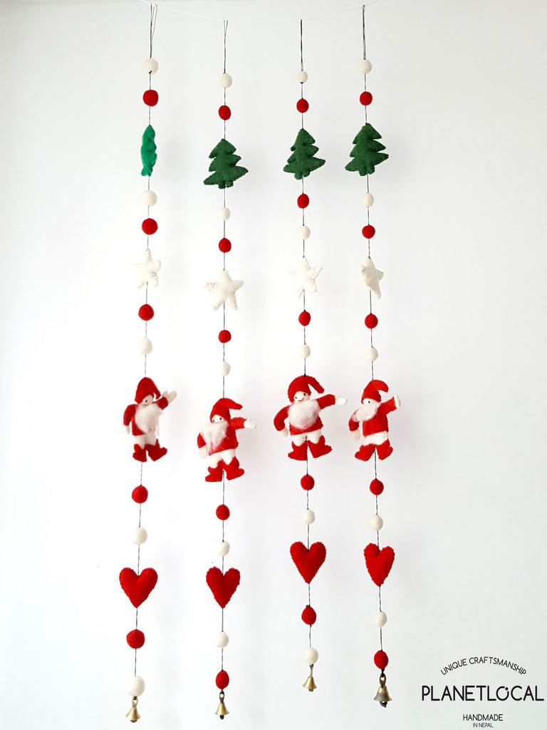BUY 4 GET 1 FREE-Handmade Christmas Wall Hanging Decor Santa, Hearts, Trees - PLANETLOCAL