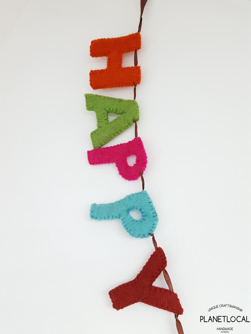 Handmade Felt Happy New Year Wall Hanging Decor - PLANETLOCAL