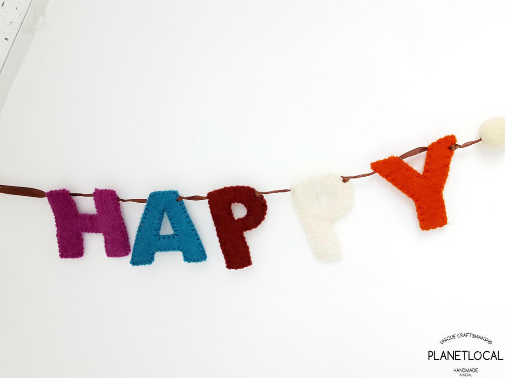Handmade Felt Happy Birthday Wall Hanging Decor - PLANETLOCAL