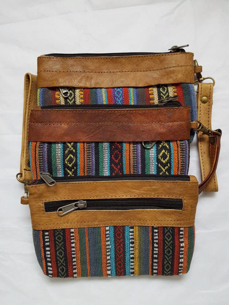 Pure Handmade Ethnic clutch bag made with cotton fabric and Leather handbag - PLANETLOCAL (2)