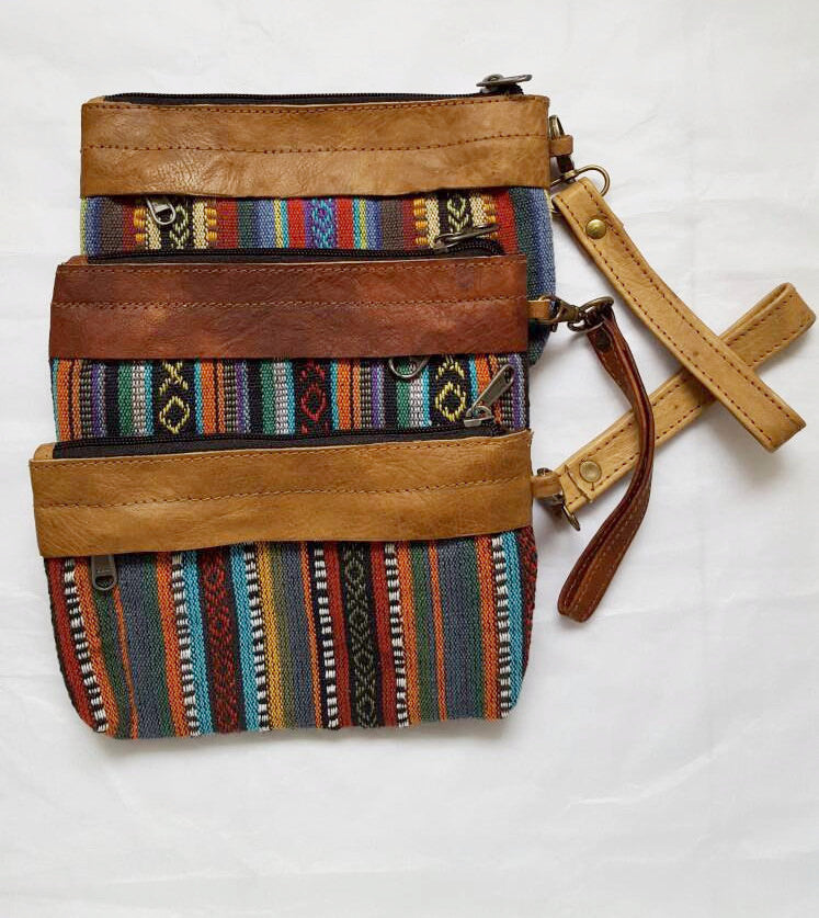 Pure Handmade Ethnic clutch bag made with cotton fabric and Leather handbag - PLANETLOCAL (1)