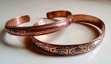 Pure Red Copper Bangles with 8 Lucky Symbols BNRK10001HK - PLANETLOCAL