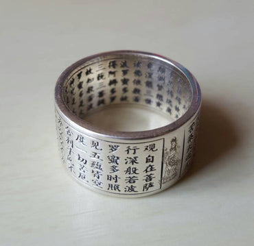 Meaning in a Ring: Heart Sutra Silver finger Ring with 260 Chinese words engraving inside out - PLANETLOCAL