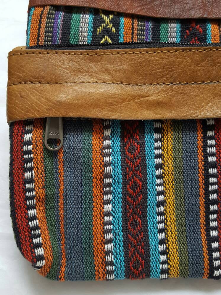 Pure Handmade Ethnic clutch bag made with cotton fabric and Leather handbag - PLANETLOCAL (4)