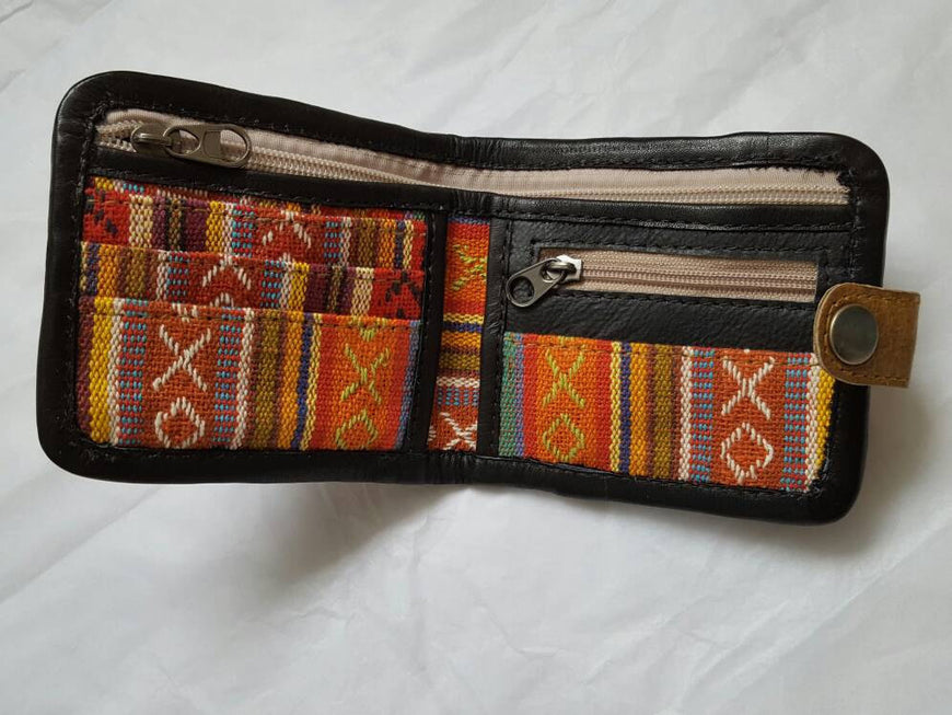 Pure Handmade Foldable Ethnic Cotton Fabric and Leather Wallet - PLANETLOCAL (5)