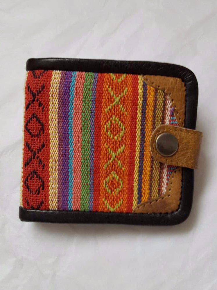 Pure Handmade Foldable Ethnic Cotton Fabric and Leather Wallet - PLANETLOCAL