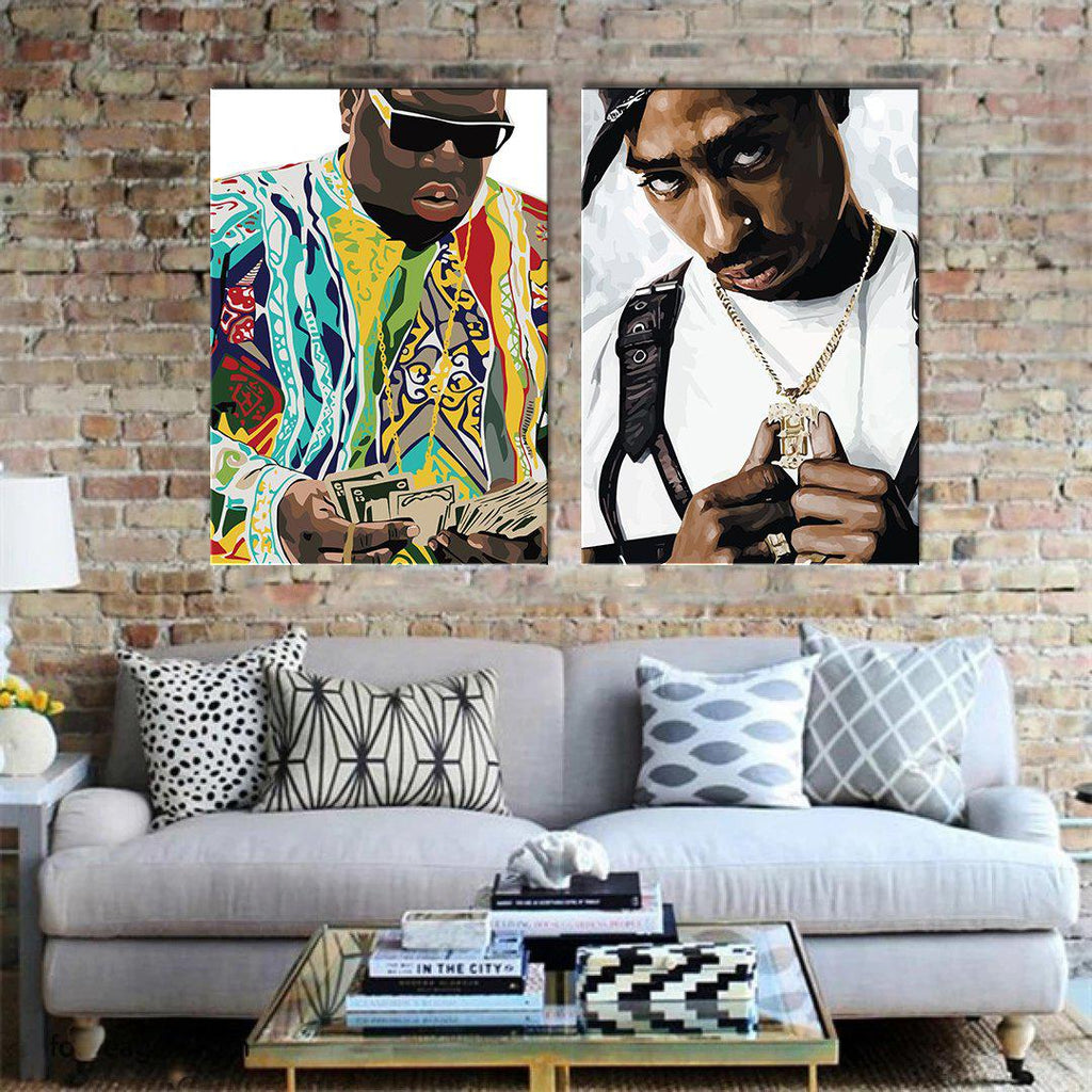 Biggie & Tupac Framed Digital Art Canvases - Poster Prints NZ
