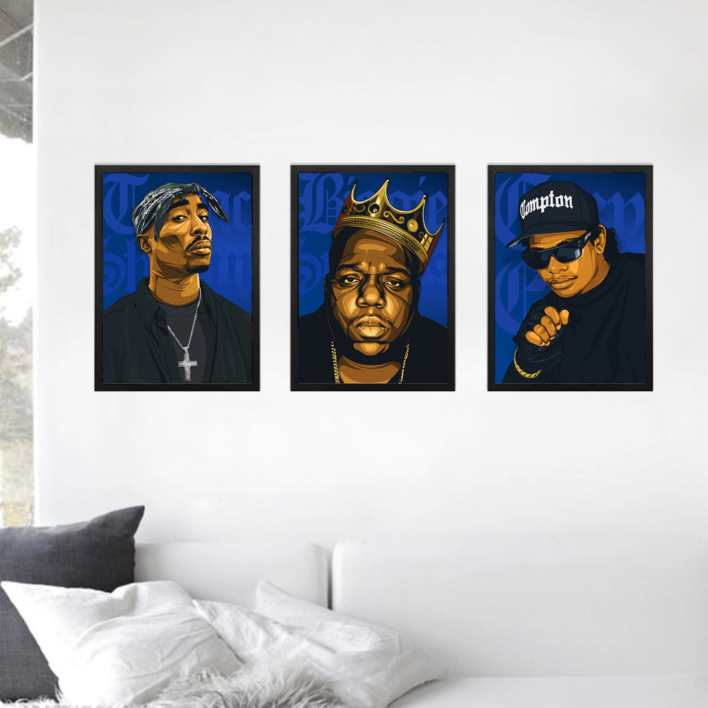 3 x Hip-Hop A3 Framed Art Posters - Poster Prints NZ