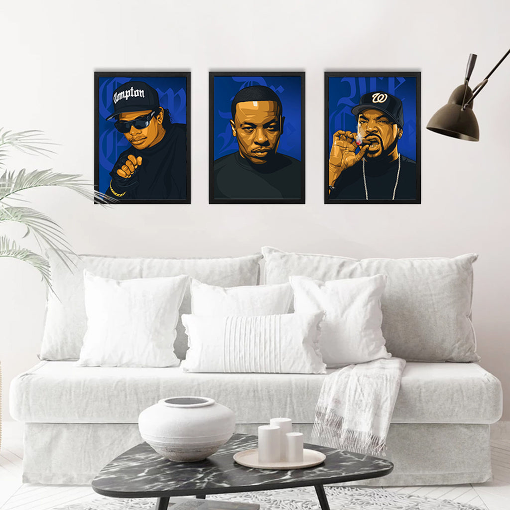 3 x NWA Hip-Hop A3 Framed Art Posters - Poster Prints NZ
