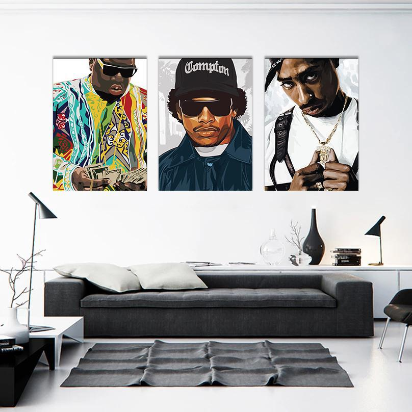 Biggie, Eazy E & Tupac Framed Digital Art Canvases - Poster Prints NZ