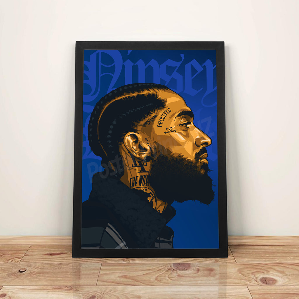 Nipsey Hussle (Blue) - A3 Framed Art Poster - Poster Prints NZ