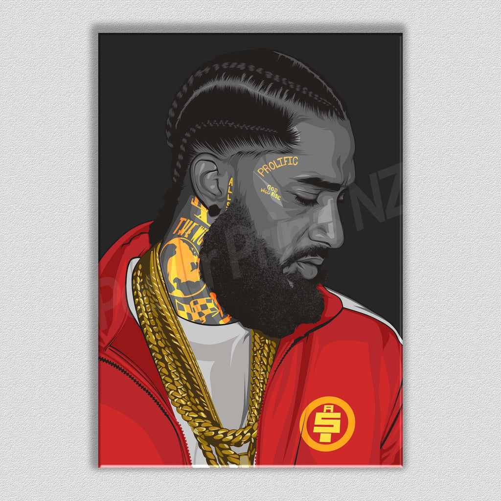 Nipsey Hussle (Red) Framed Art Canvas - Poster Prints NZ