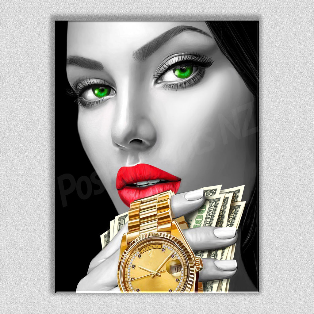 Time Is Money Framed Digital Art Canvas - Poster Prints NZ