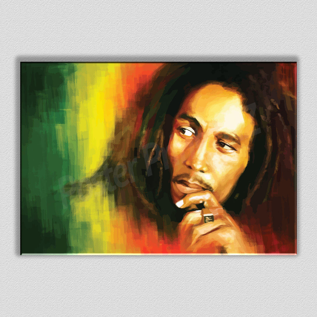 Bob Marley Framed Digital Art Canvas - Poster Prints NZ