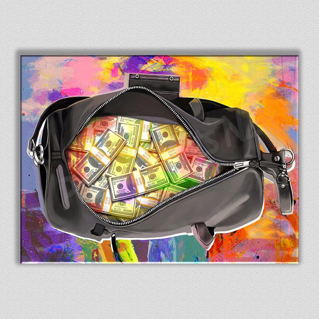 Bag-O-Money Framed Art Canvas - Poster Prints NZ