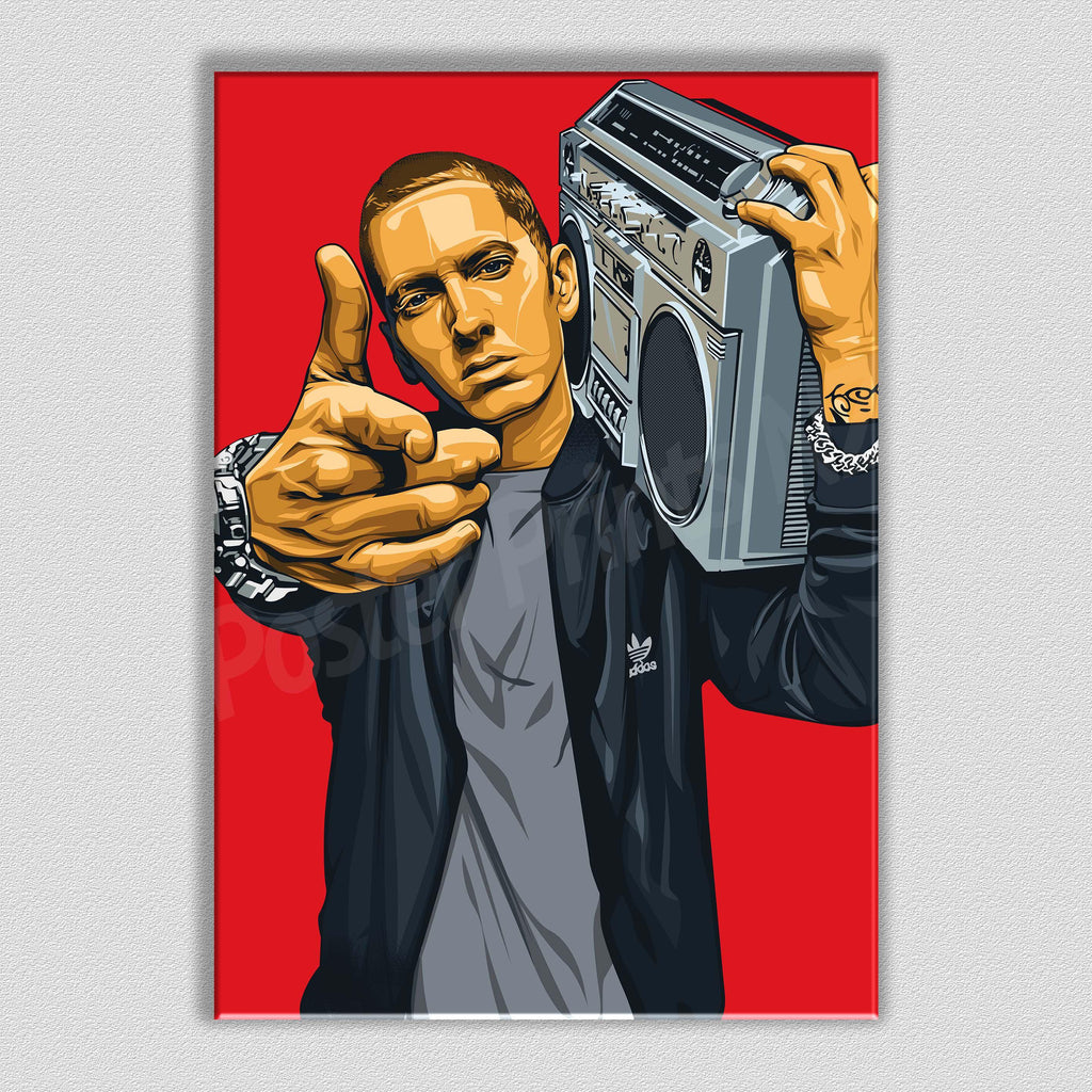 Eminem Framed Art Canvas - Poster Prints NZ