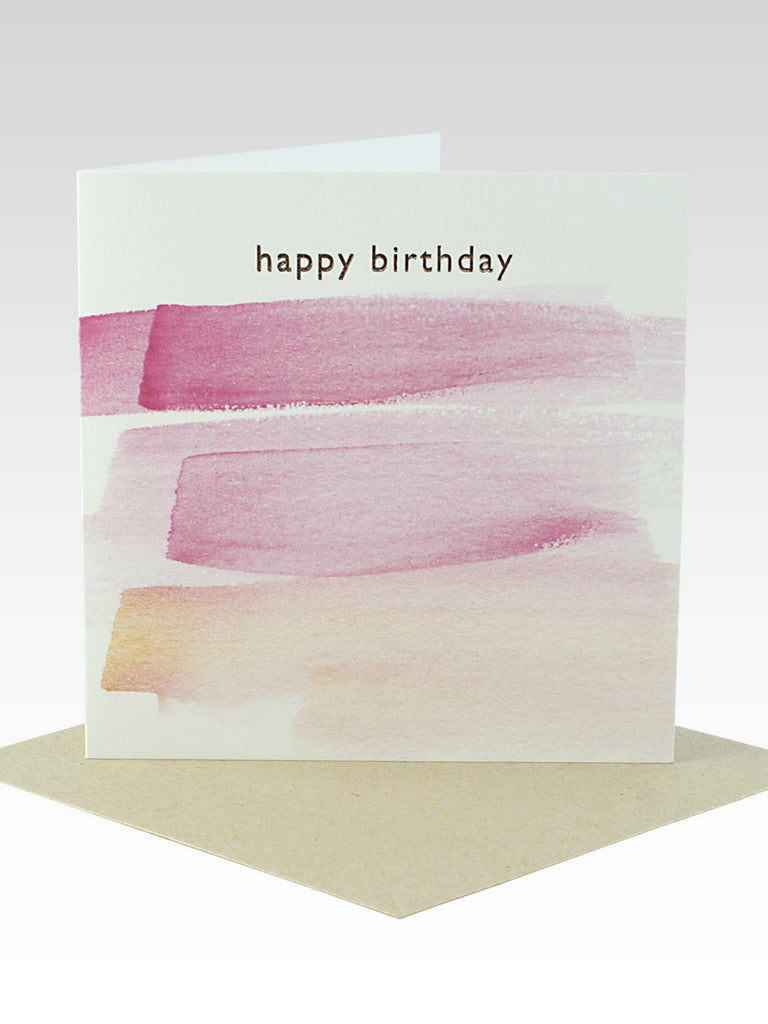 Happy Birthday Pink Paintstrokes Card