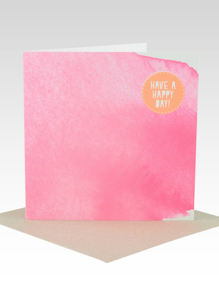 Rhicreative Fluoro Pink Watercolour Birthday Card