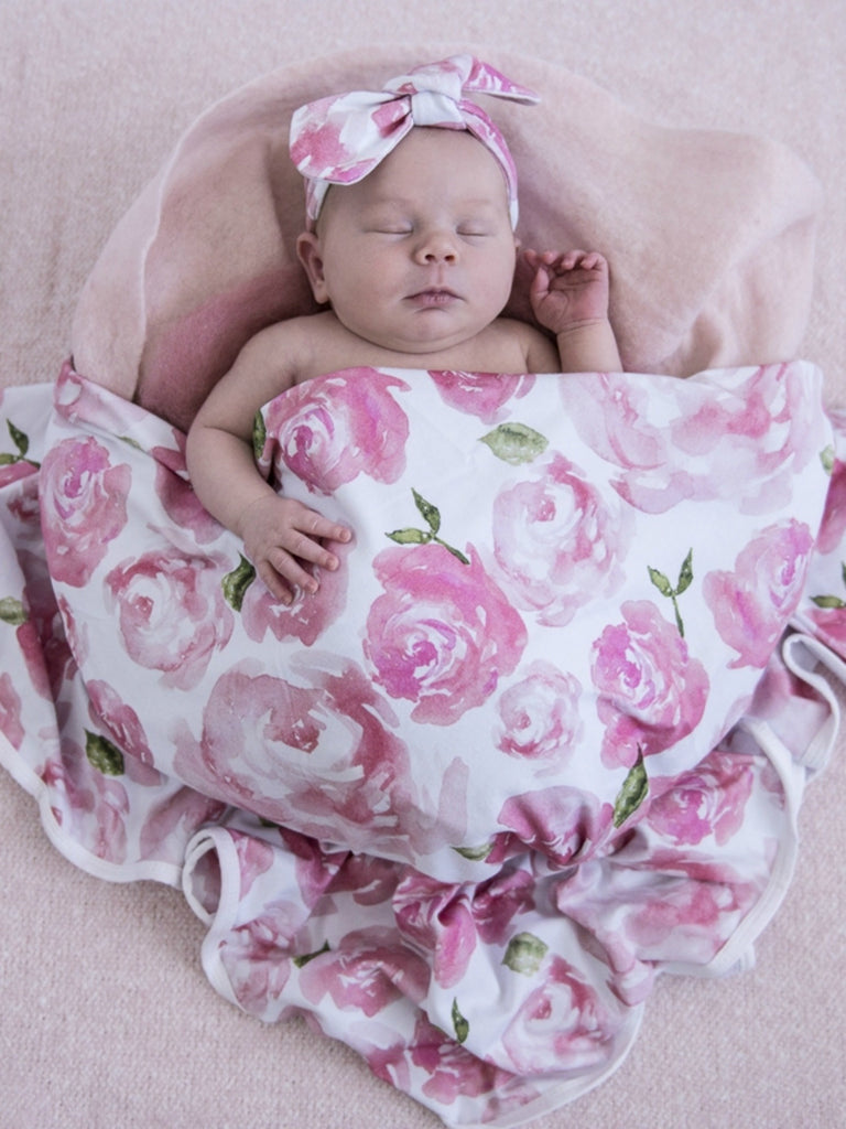 Baby Jersey Wrap & Topknot Set | Sunset Rose