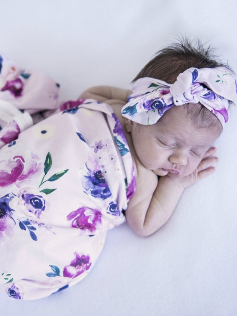Baby Jersey Wrap & Topknot Set | Floral Kiss