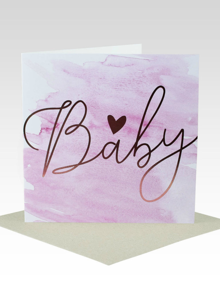 Rose Gold Foil Baby Card | Pink