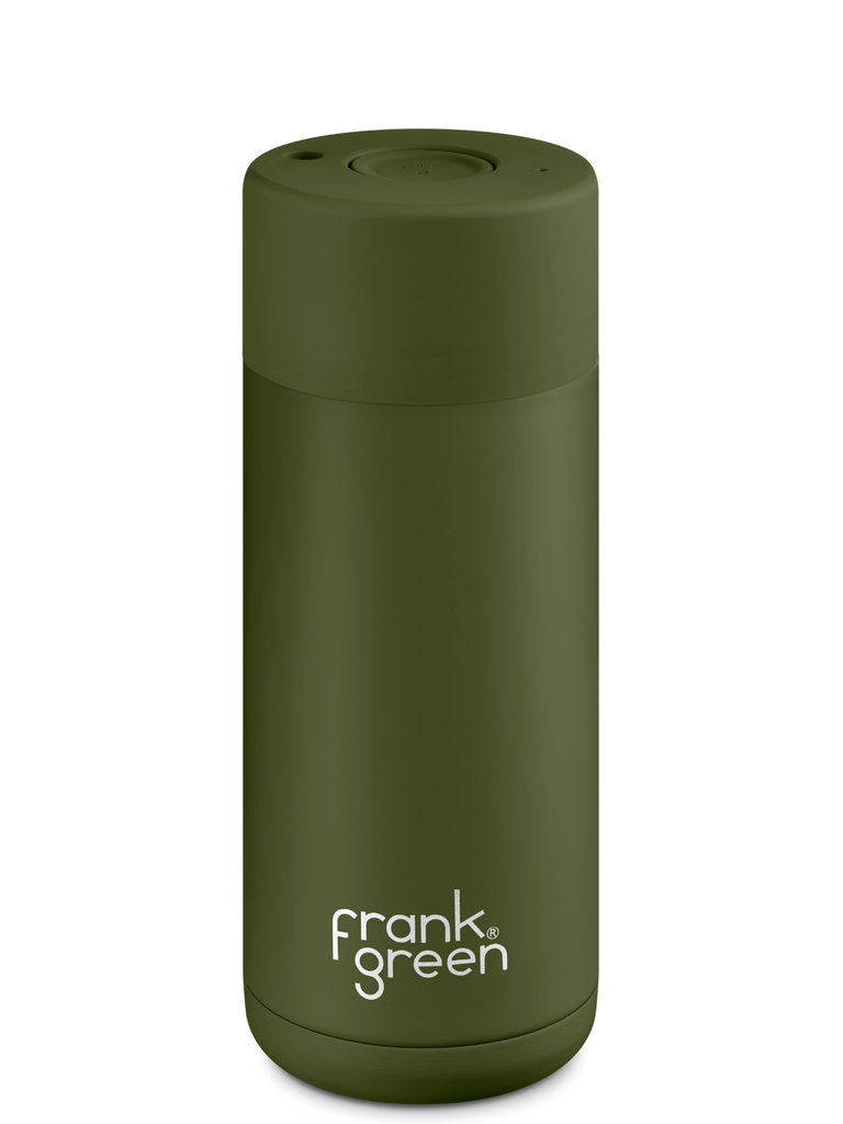 Frank Green 16oz (475mL) Stainless Steel Ceramic Reusable Cup w/ Push Button Lid | Khaki