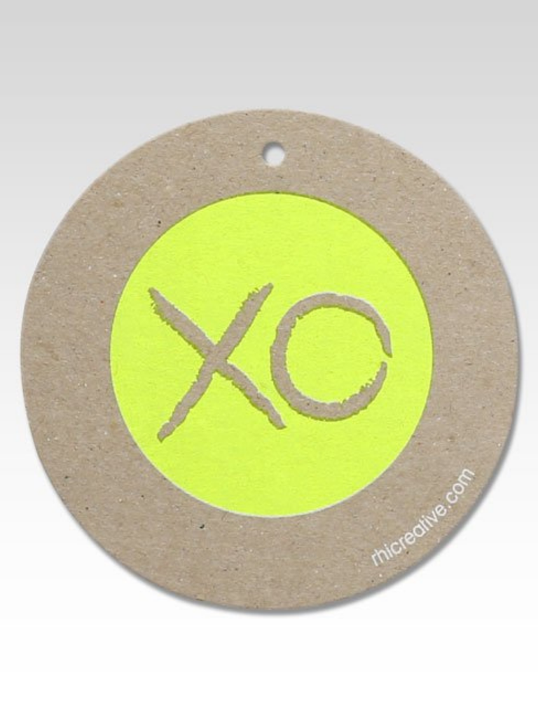 Rhicreative Fluoro XO Gift Tags | Yellow