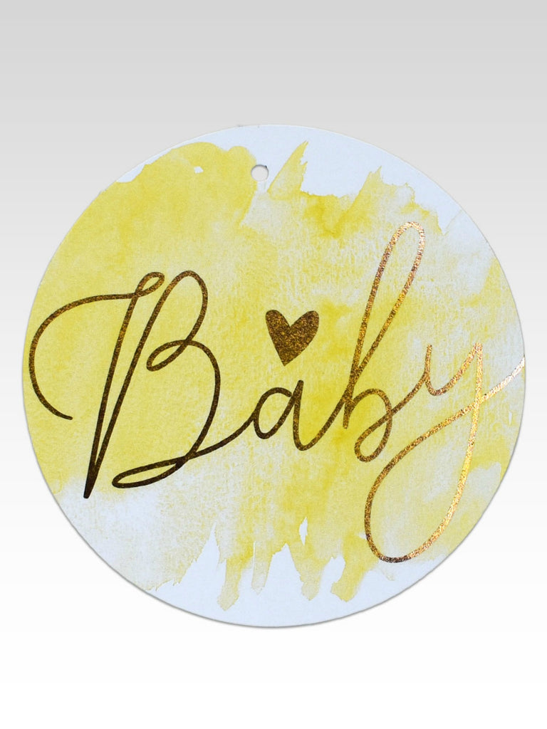 Lemon Watercolour & Rose Gold Foil Baby Gift Tag