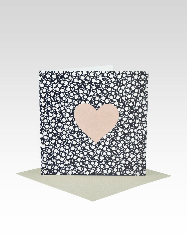 Rhicreative Navy And White Florals With Blush Heart Mini Card