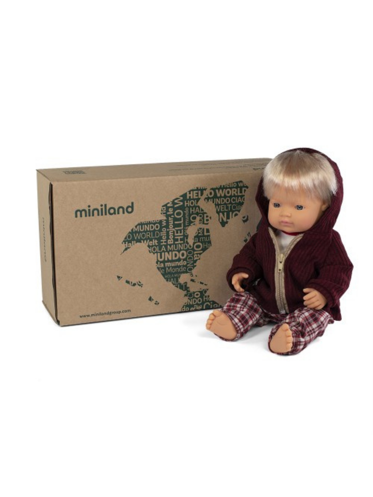Miniland Doll Caucasian Boy and Outfit Boxed (38cm)