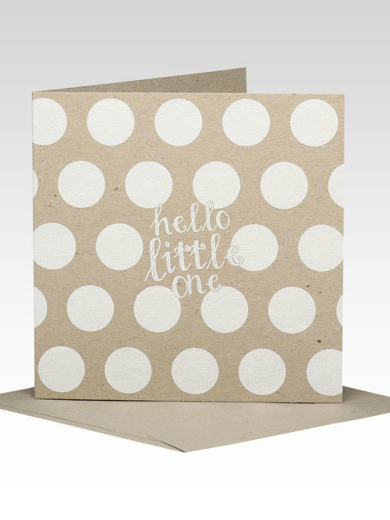 Rhicreative White Spot Hello Little One Baby Card