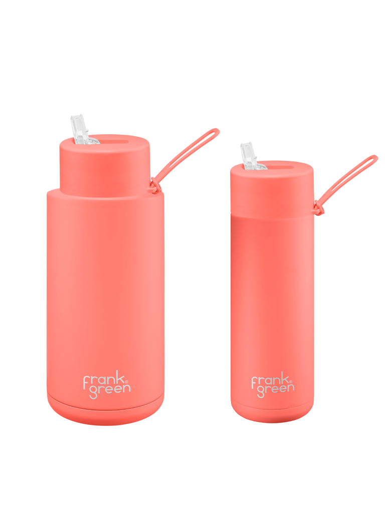 Frank Green Stainless Steel Ceramic Reusable Bottle with Straw Lid | Living Coral