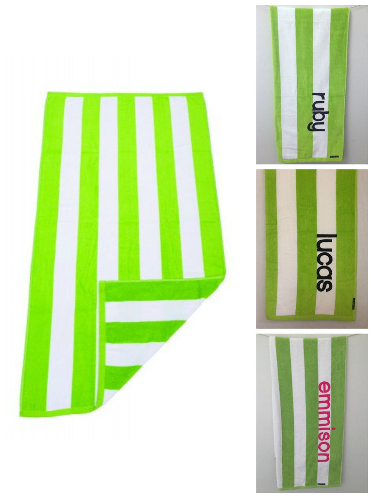 Personalised Beach Towel | Lime Green