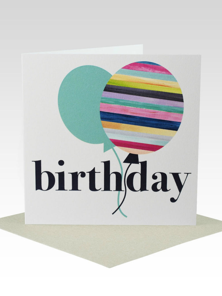 Rhicreative Striped Balloon Birthday Card