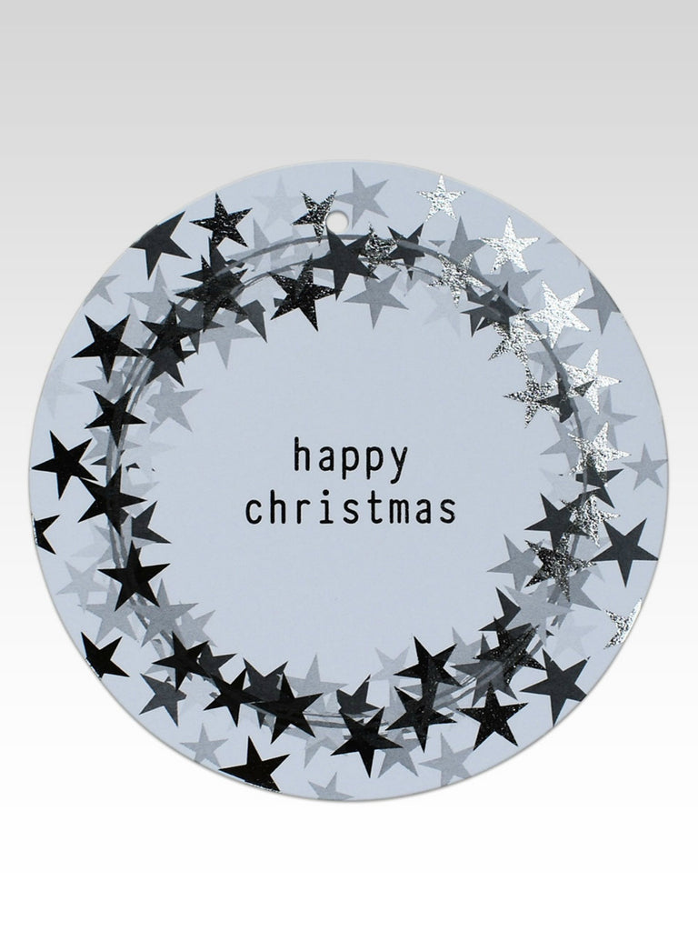 Silver Foil Happy Christmas Gift Tag