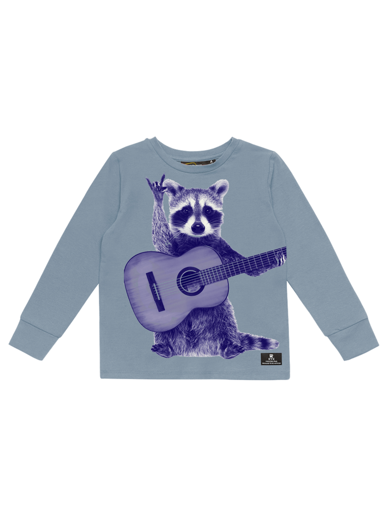 Rock Your Baby Blue Racoon Strummer T-Shirt | Blue