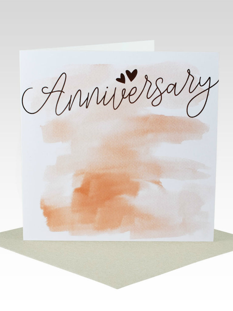 Watercolour & Rose Gold Foil Anniversary Card