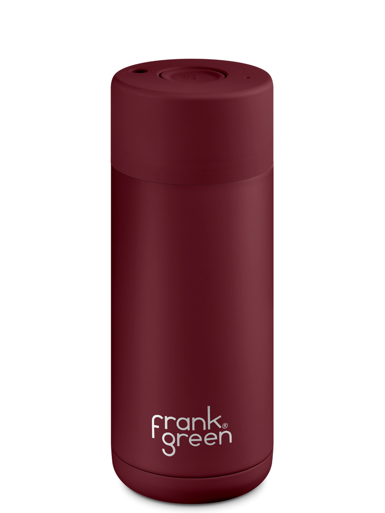 Frank Green 16oz (475mL) Stainless Steel Ceramic Reusable Cup w/ Push Button Lid | Merlot