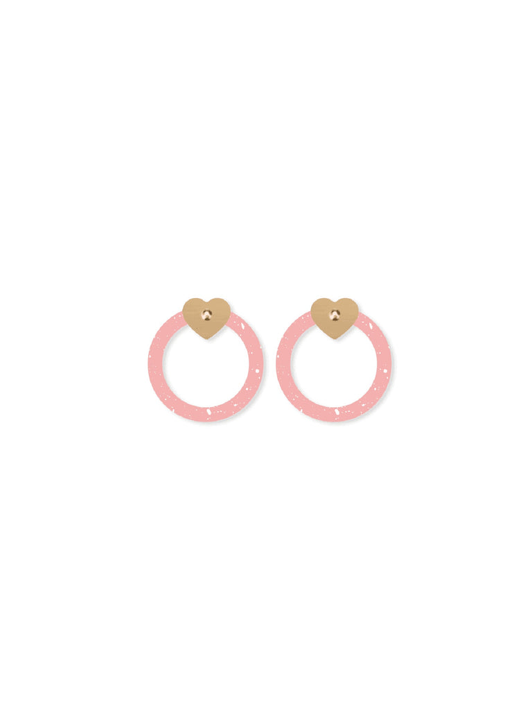 Date Night | Circle Outline Heart Stud Earrings