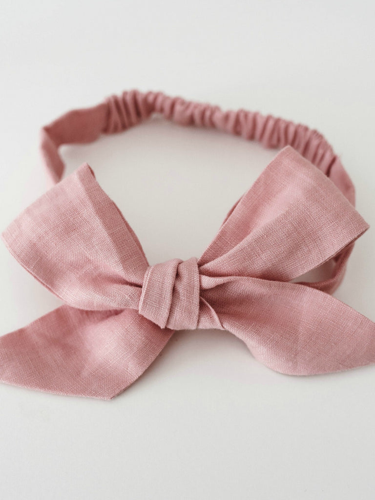 Linen Bow Headband Wrap | Dusty Pink