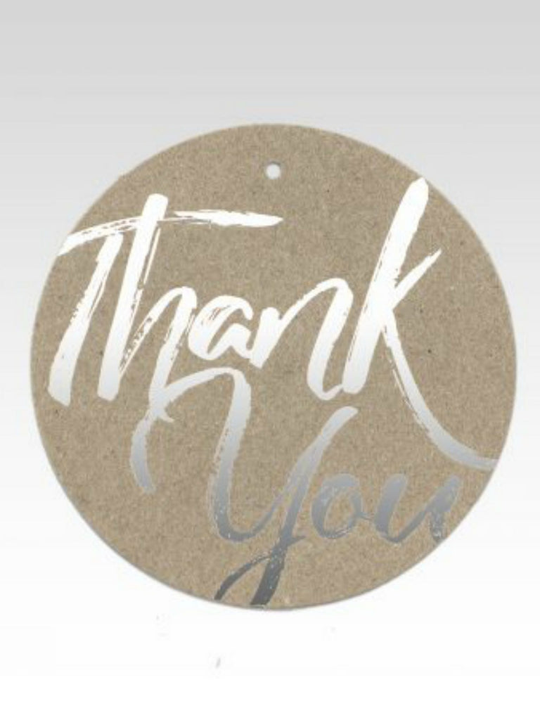 Silver Thank You Brush Script Gift Tag