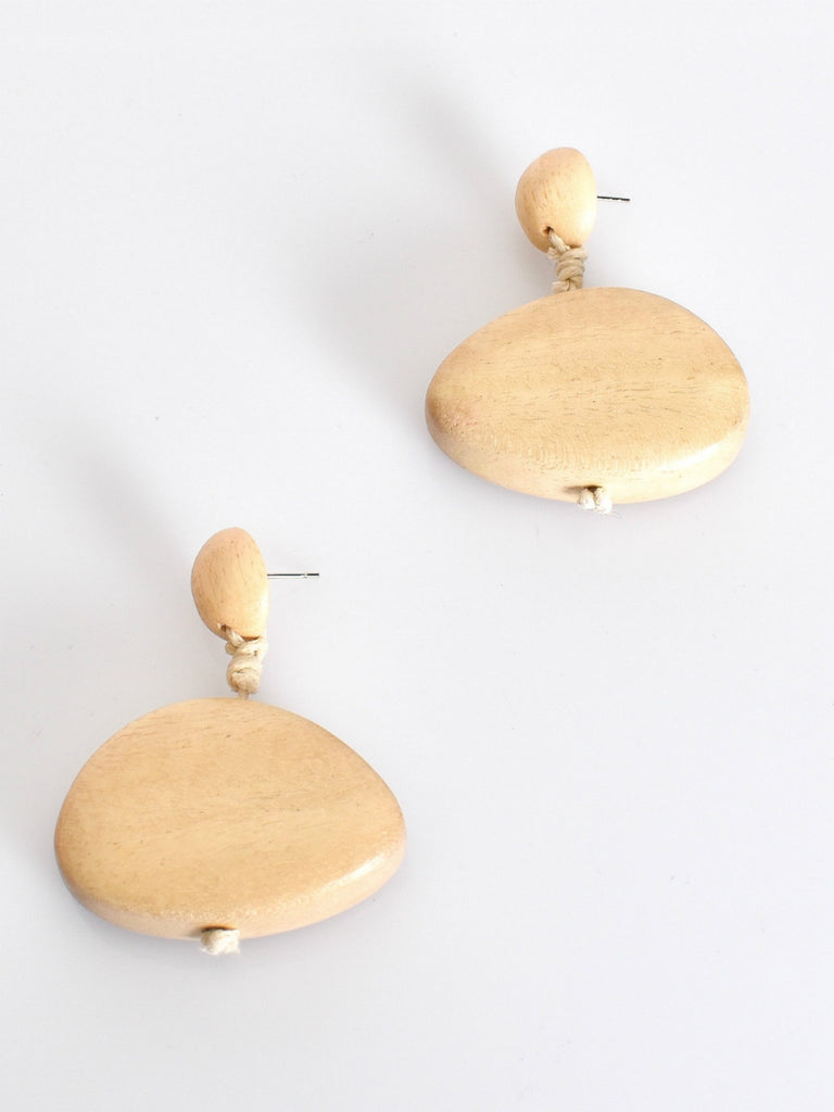 Drop Timber Button Top Earrings | Cream