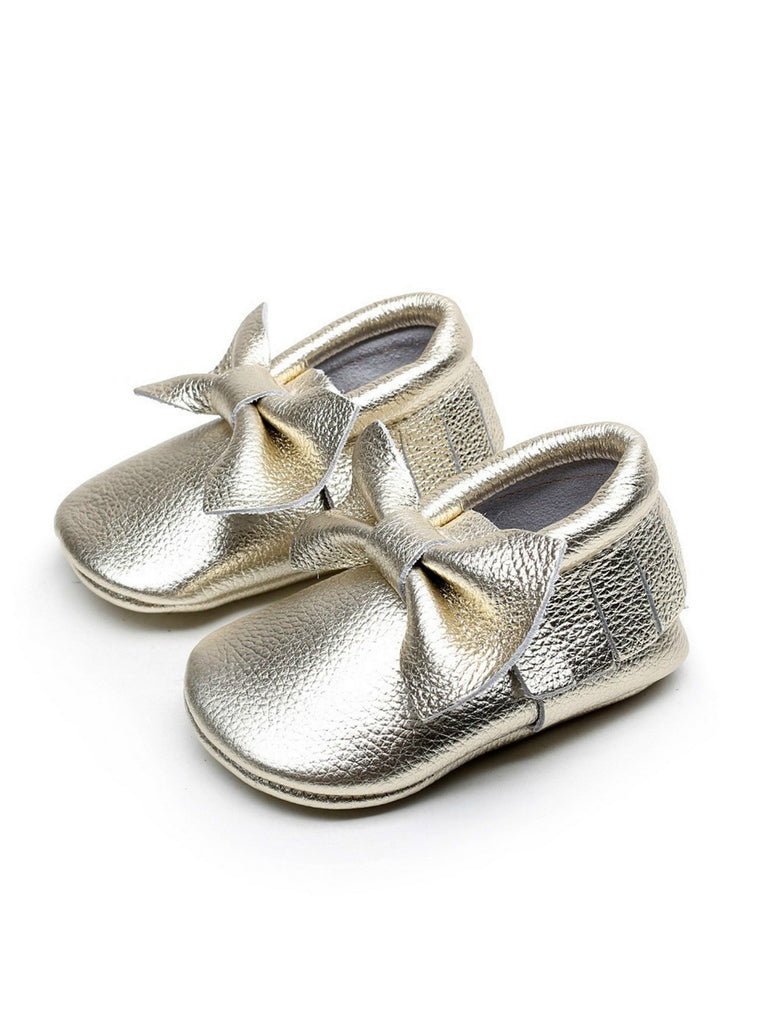 Bow Moccasins | Metallic Gold