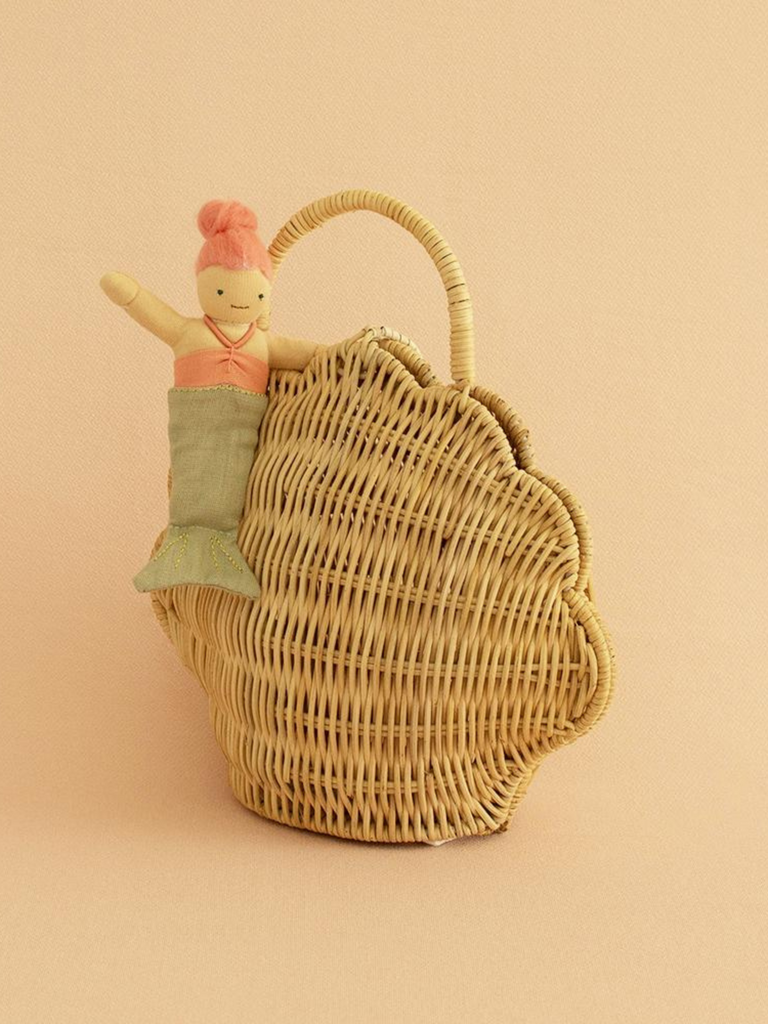Olli Ella Rattan Shell Bag | Straw