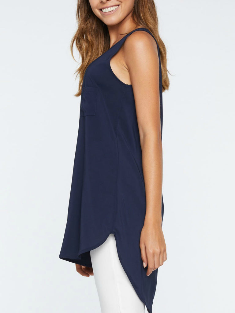 Long Pocket Tank | Navy