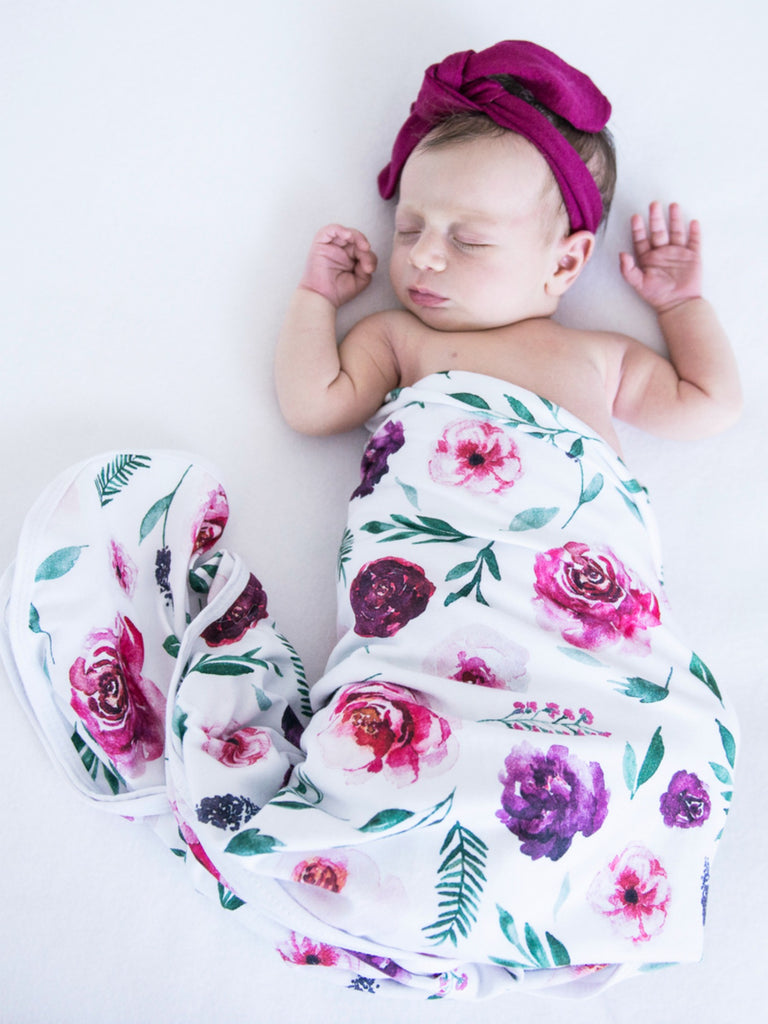 Baby Jersey Wrap & Topknot Set | Peony Bloom