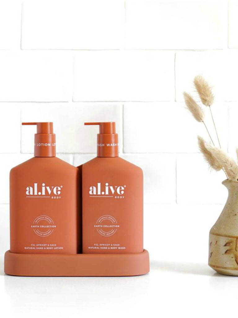 Al.ive Wash & Lotion Duo + Tray | Fig, Apricot & Sage