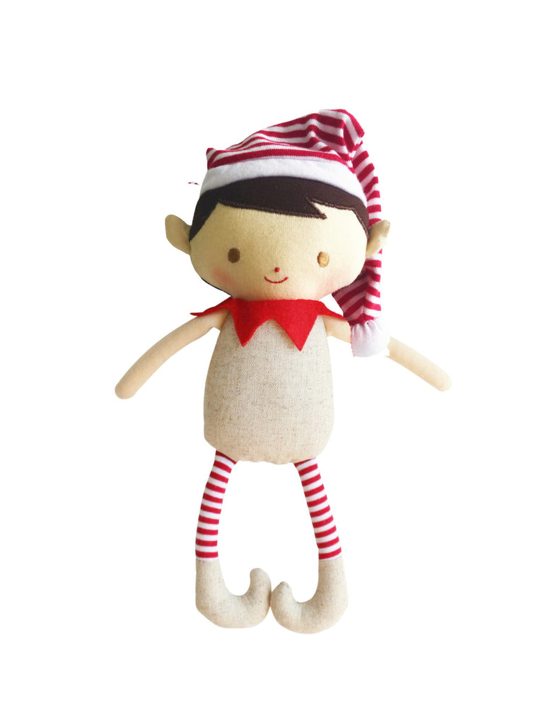 Cheeky Elf Boy Rattle Linen