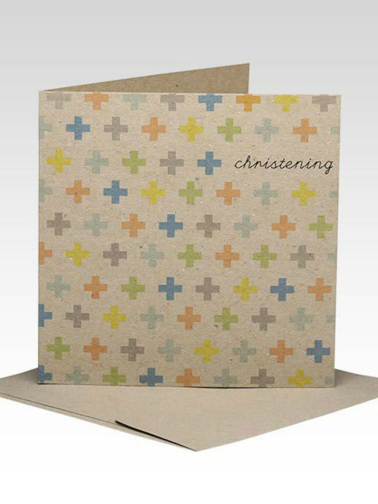 Cross Pattern Christening Card